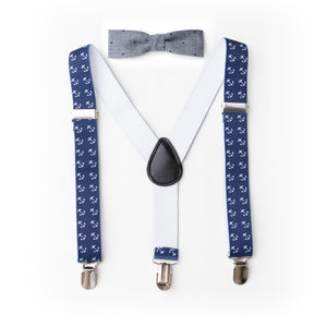 cool boy suspender and bow tie set anchor navy