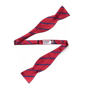 Mens repp stripe silk self-tie bow tie red and navy