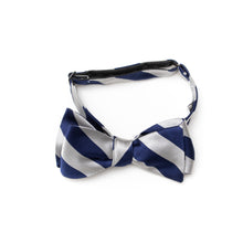 Mens repp stripe silk self-tie bow tie navy and silver