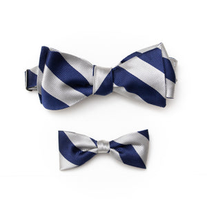 Mens & kids matching repp stripe silk ties navy and silver