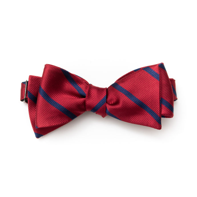 Mens classic self-tie silk bow tie red and navy