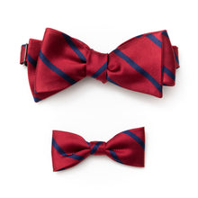 Daddy & Me Mens & kids matching stripe silk ties red and navy