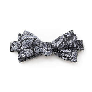 Mens classic self tie bow tie paisley black and silver