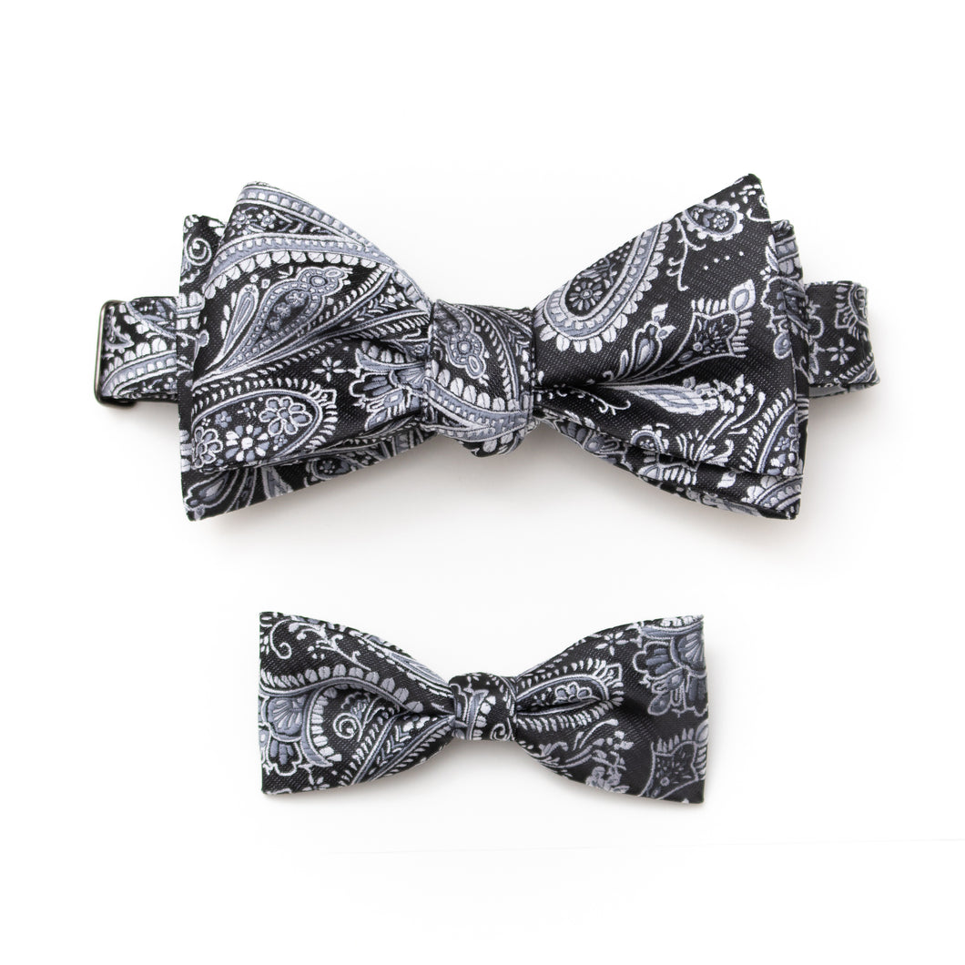 Mens & kids matching paisley bow ties black and silver