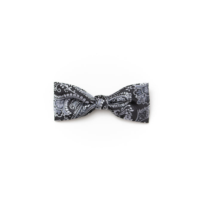 Toddler clip-on bow tie black paisley
