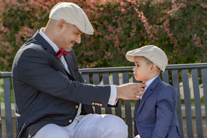 Mens and kids tan linen cap set