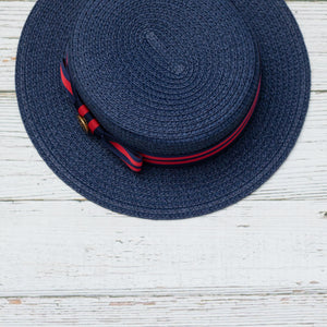 Navy straw boater hat for kids