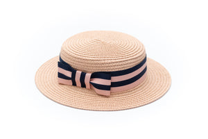 blush pink paper straw hats for girls