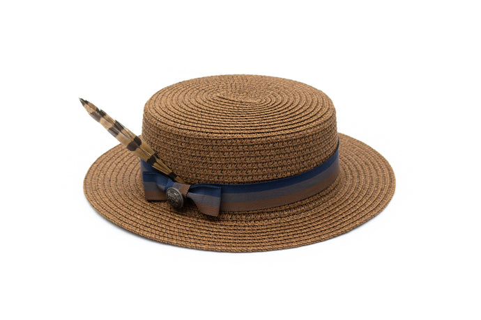 boys brown paper straw hat