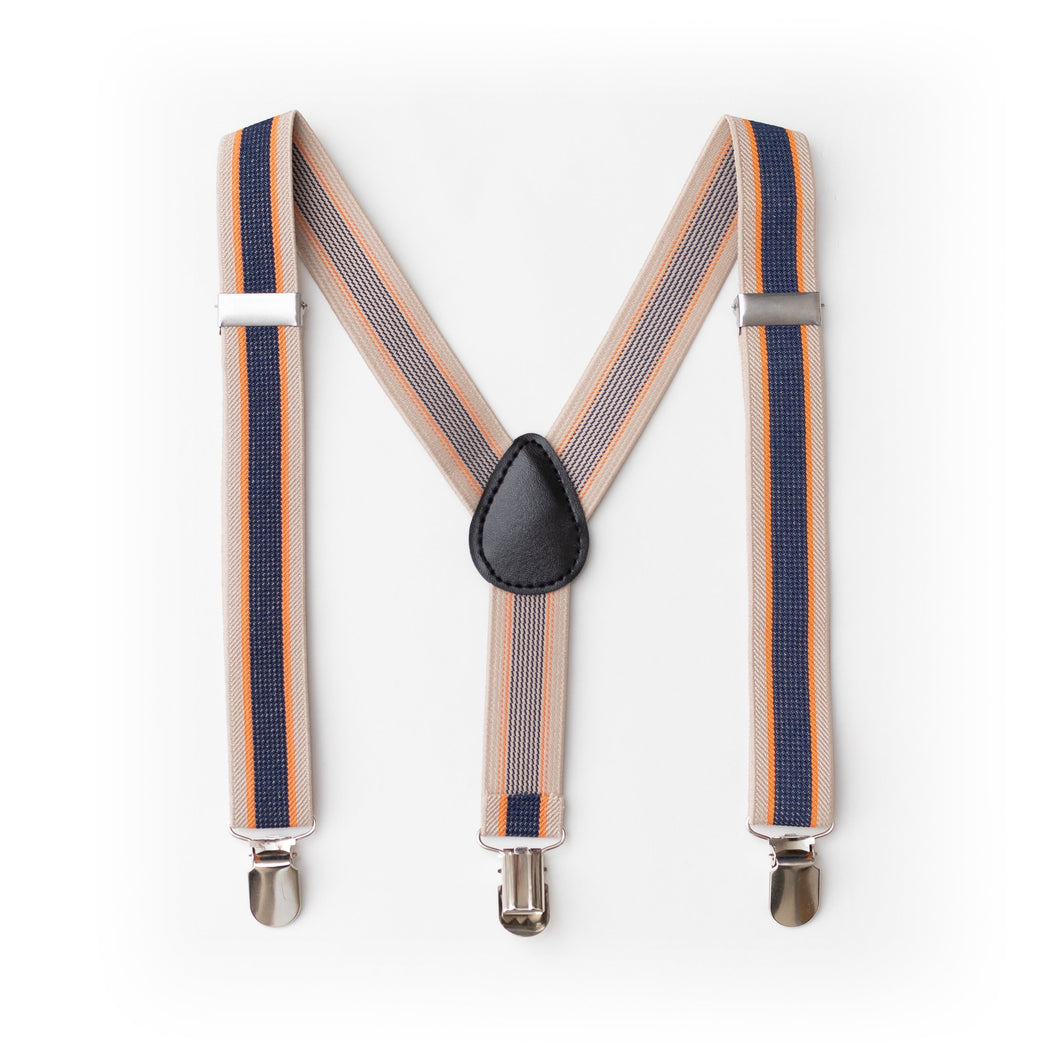 Baby Boy Toddler Orange Navy Suspenders