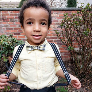 Adjustable Toddler Black White Stripe Suspenders at Junior Baby Hatter