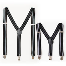 Daddy & Me Black White Stripe Suspender Set