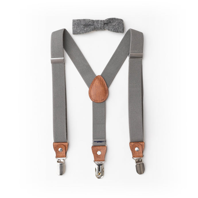Gray Leather Child Suspenders- Boy Suspenders- Baby Boy Suspenders- Suspenders- Kids Suspenders- Wedding Groomsmen
