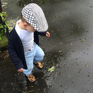 Hatch - Black and White Kids Flat Cap
