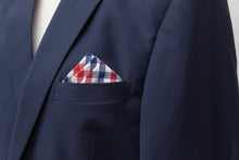 Cotton red navy check plaid pocket square