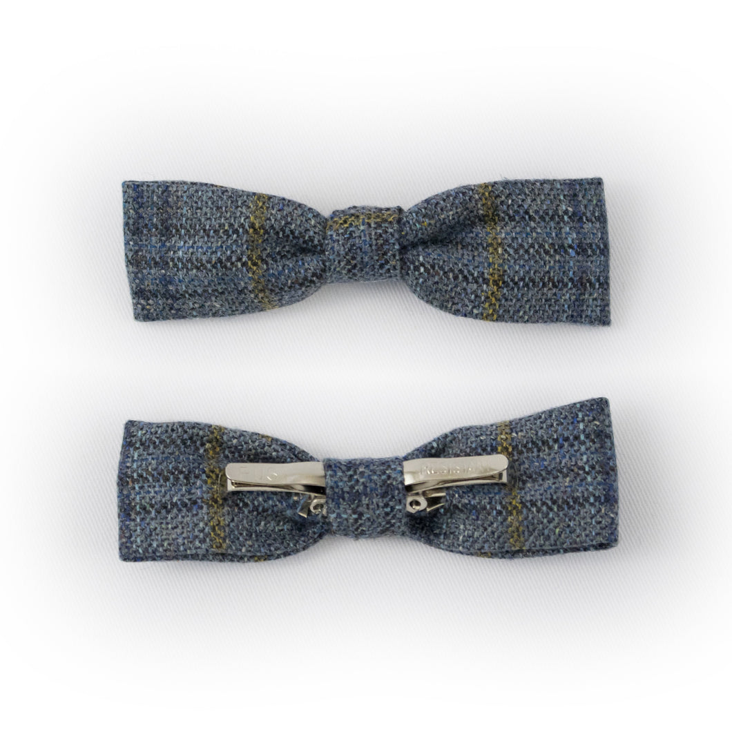 Blue Clip-on skinny bow tie