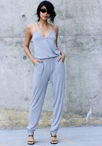 Heather Grey Sunday Jumpsuit - Concrete Runway