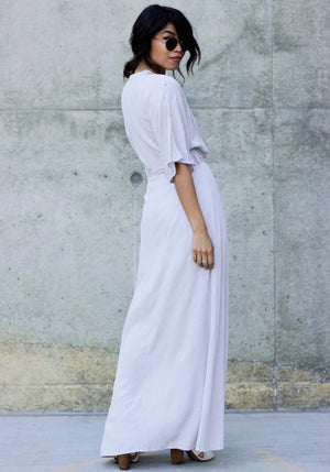 No Worries V Neck Maxi - Concrete Runway