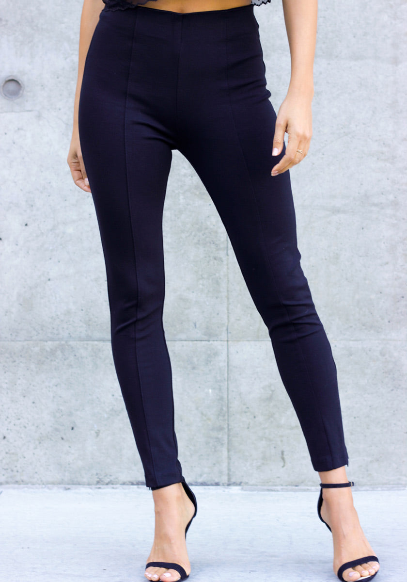 What's The Skinny High Waist Pants - Concrete Runway