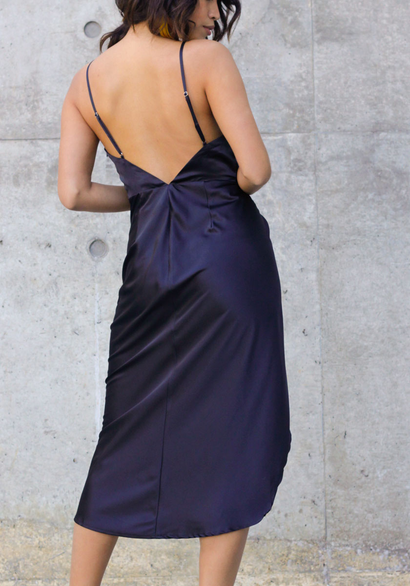 Wrapped in Romance Black Satin Dress - Concrete Runway