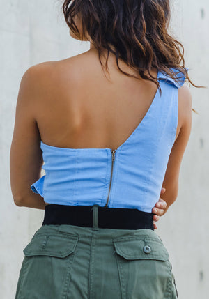 One Shoulder Ruffle Denim Crop Top - Concrete Runway
