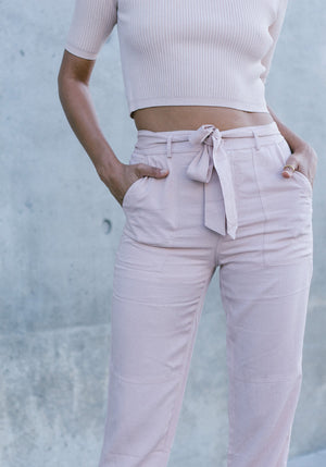 Blush Cargo Slacks - Concrete Runway