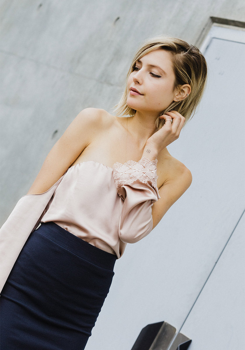 Nights Out Blush Off Shoulder Satin Blouse - Concrete Runway