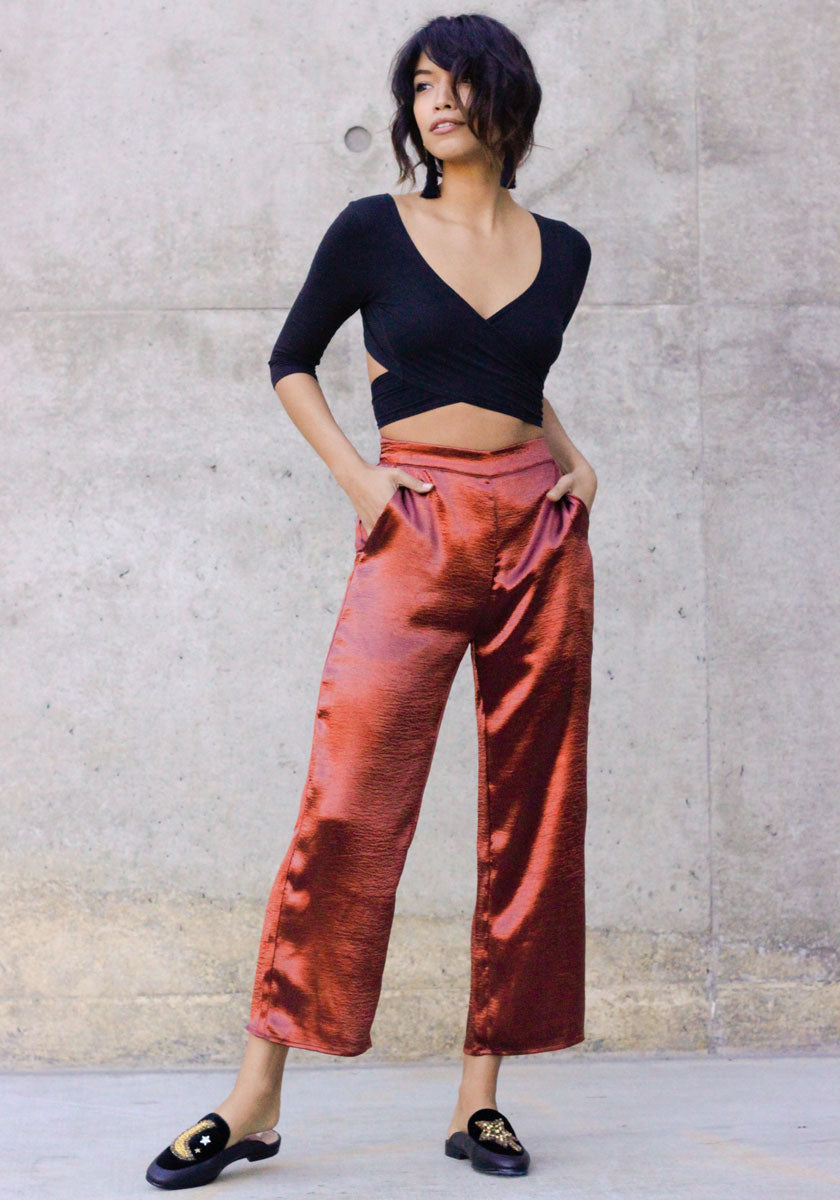 Rust High Rise Culottes - Concrete Runway