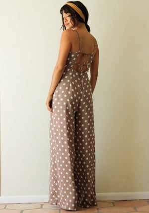 Taupe Polka Dot Wide Leg Jumpsuit - Concrete Runway