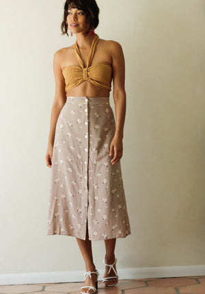 Taupe Blooming Midi Skirt - Concrete Runway