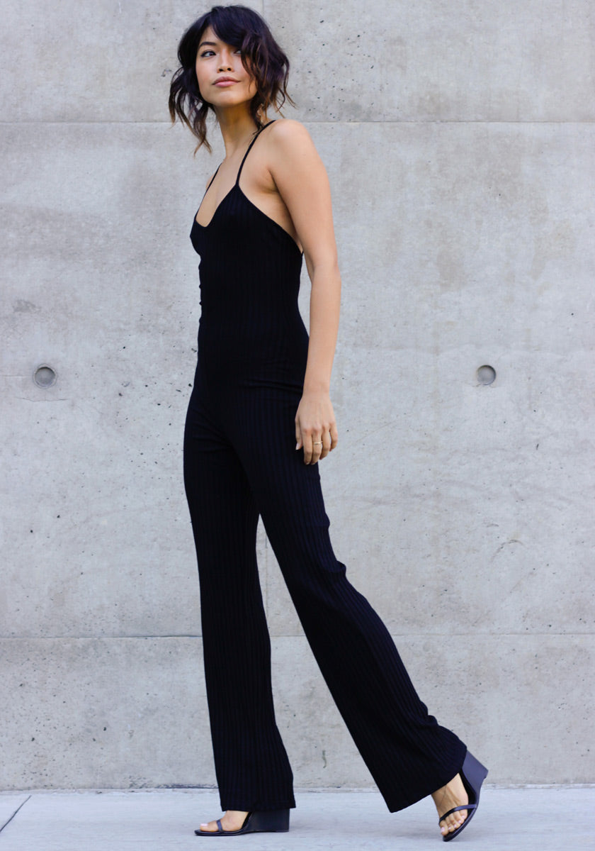 All Day Ribbed Jumpsuit - Concrete Runway