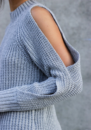 From the Top Grey Cut Out Sweater - Concrete Runway