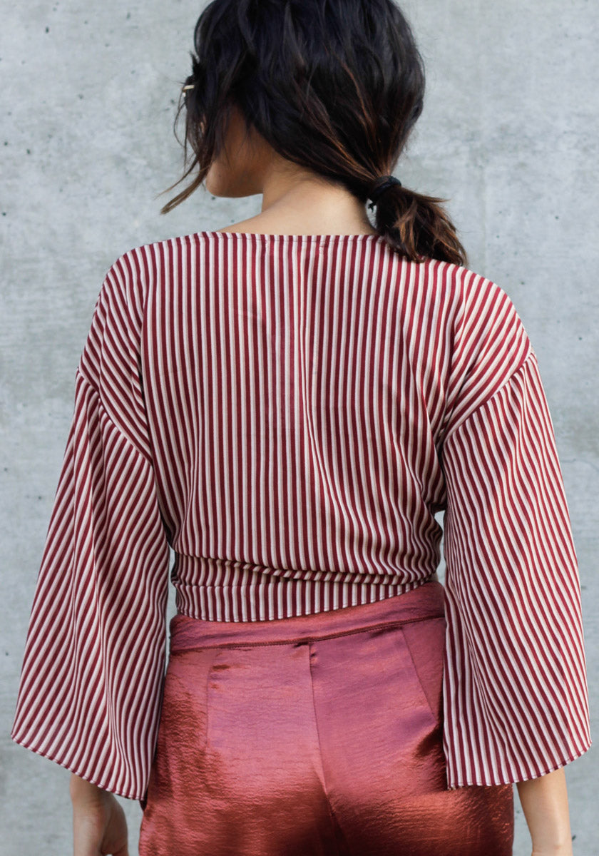 Knot worried Burgundy Striped Crop Top - Concrete Runway