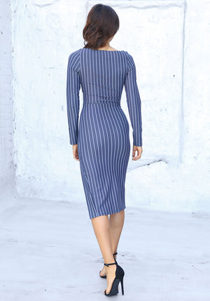 Donna Mizani Striped Cocktail Dress - Concrete Runway