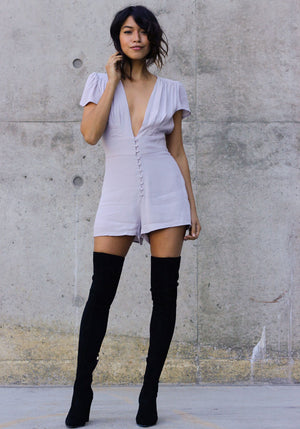 In the Grey Deep V Romper - Concrete Runway