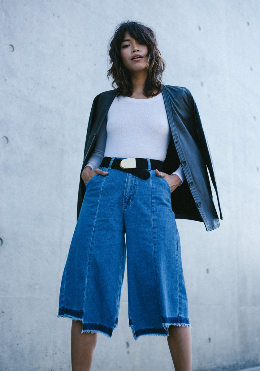 Denim May-hem Culottes - Concrete Runway