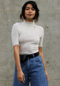 Above the Fray Mock Neck Top - Concrete Runway