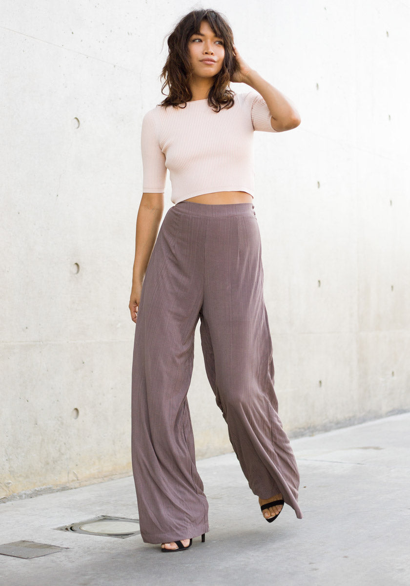 Sepia High Waist Wide Leg Ribbed Slacks - Concrete Runway