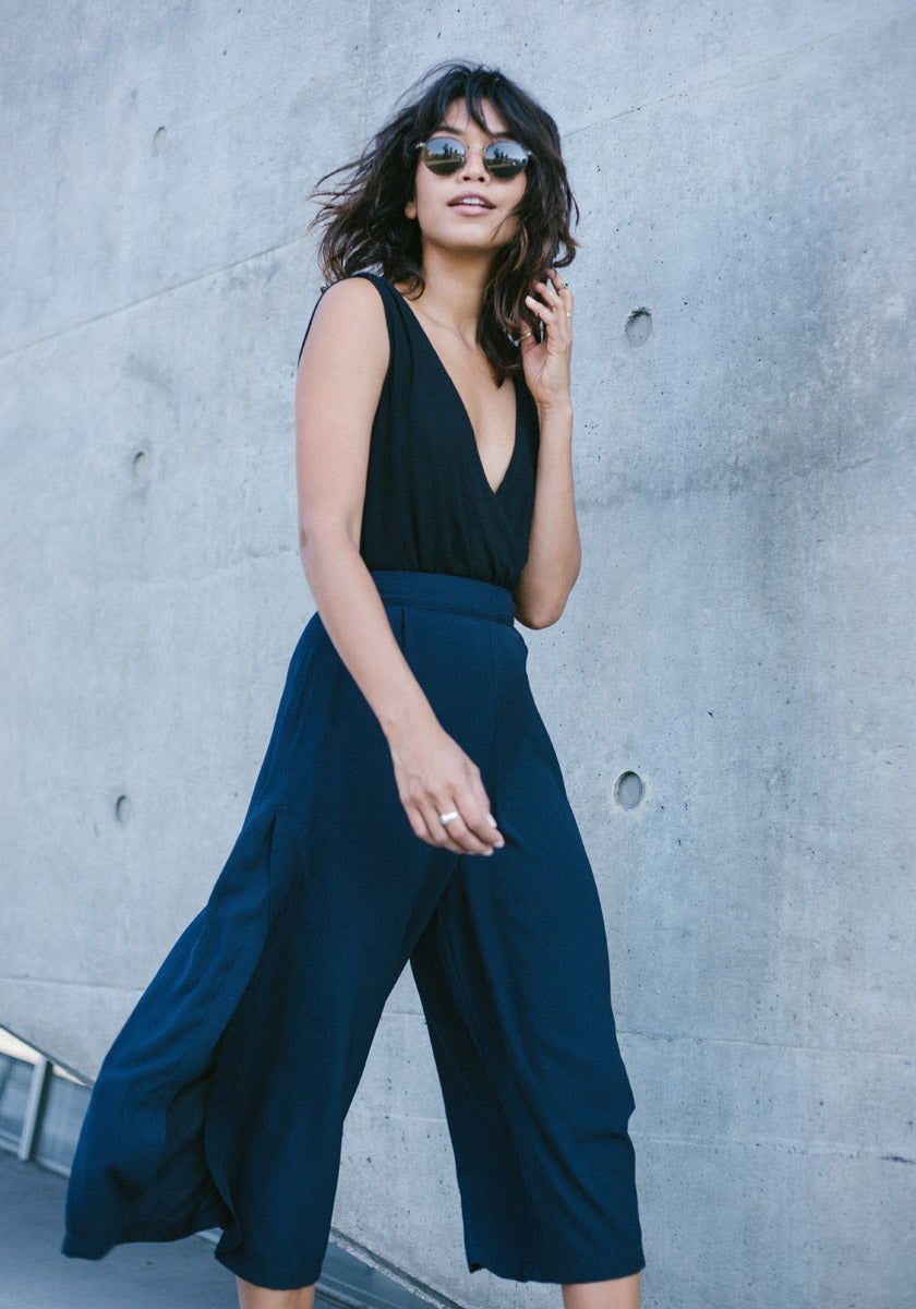 Navy High Slit Culottes - Concrete Runway