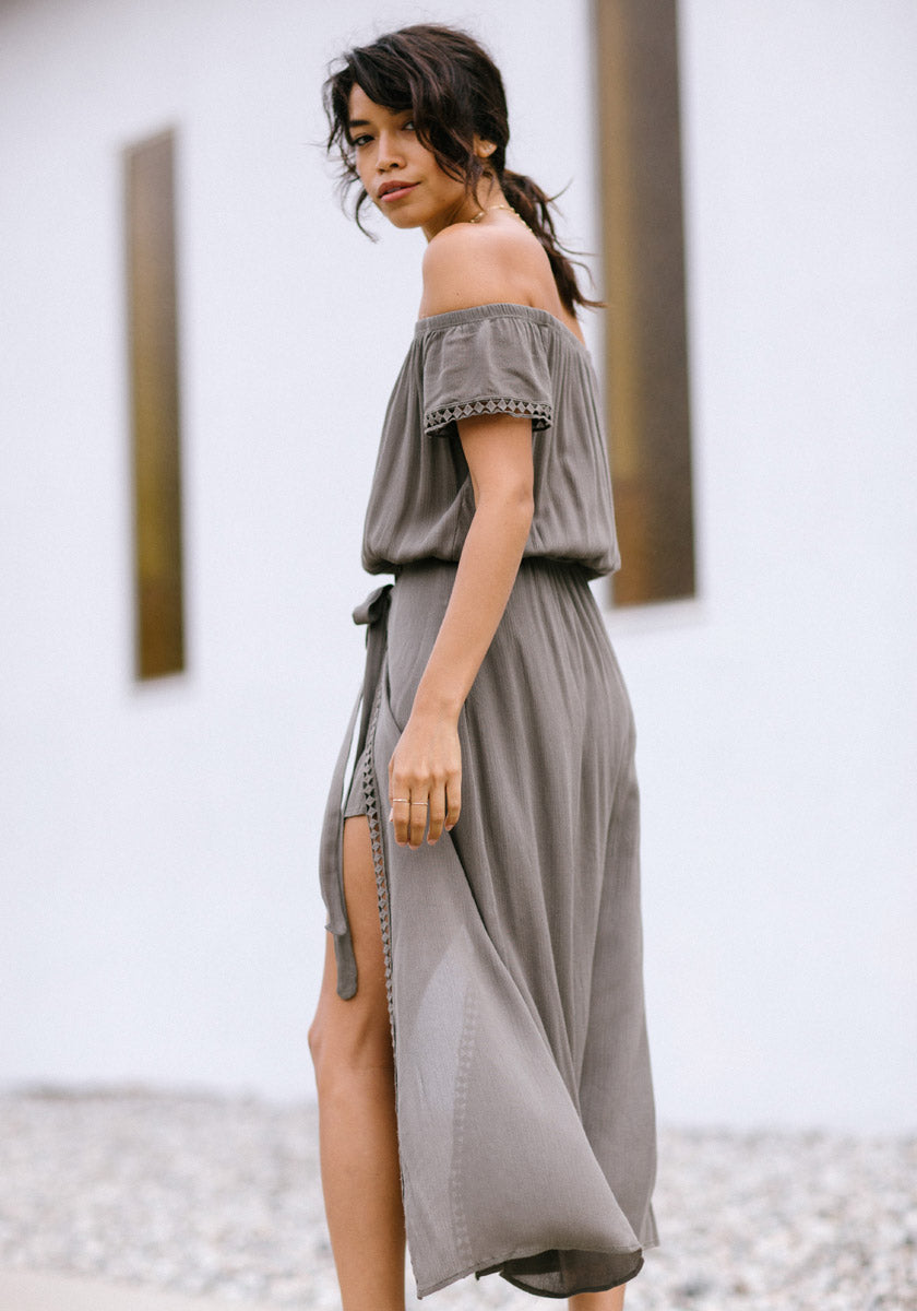 Olive Off the Shoulder Romper - Concrete Runway
