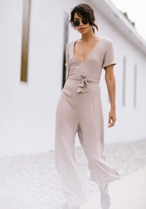 Taupe Short Sleeve Jumpsuit - Concrete Runway