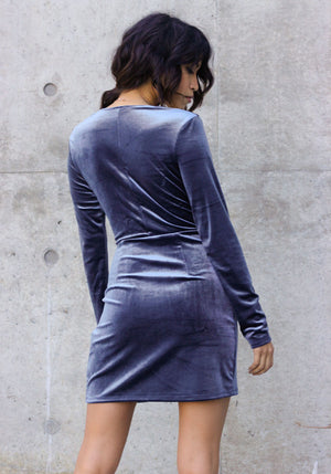 To the Limit Velvet Mini Dress - Concrete Runway