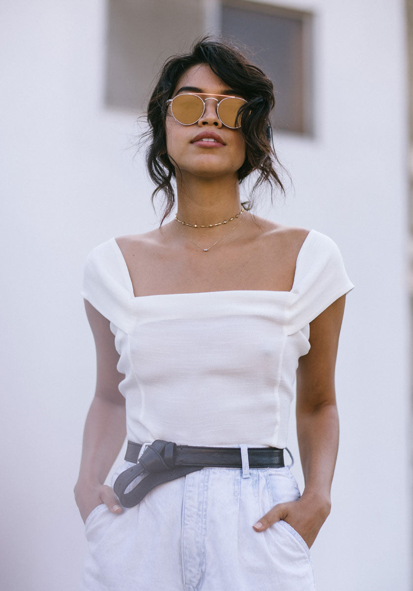 White off the Shoulder Top - Concrete Runway