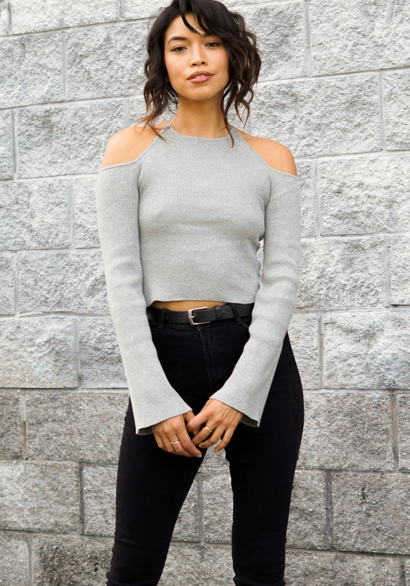 Open Back Halter Sweater - Concrete Runway