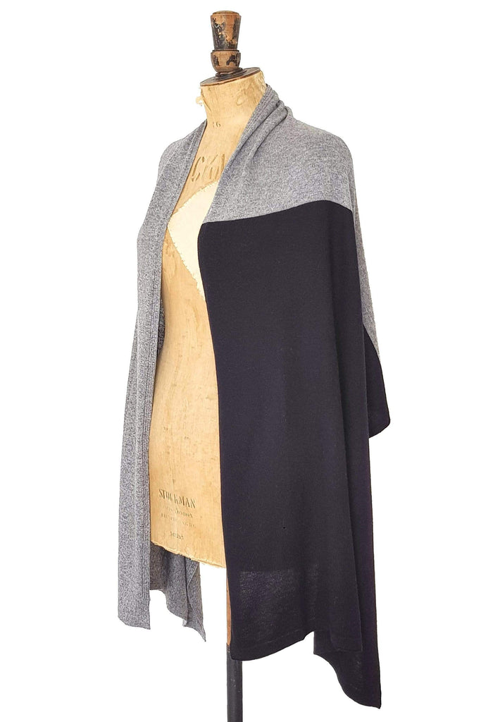www.thecuriousyak.com Ponchos and Wraps Black & Grey Two Tone Wrap