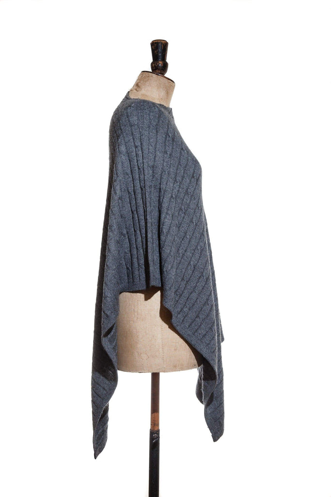 www.thecuriousyak.com Ponchos and Wraps Cable Knit Dark Grey Poncho