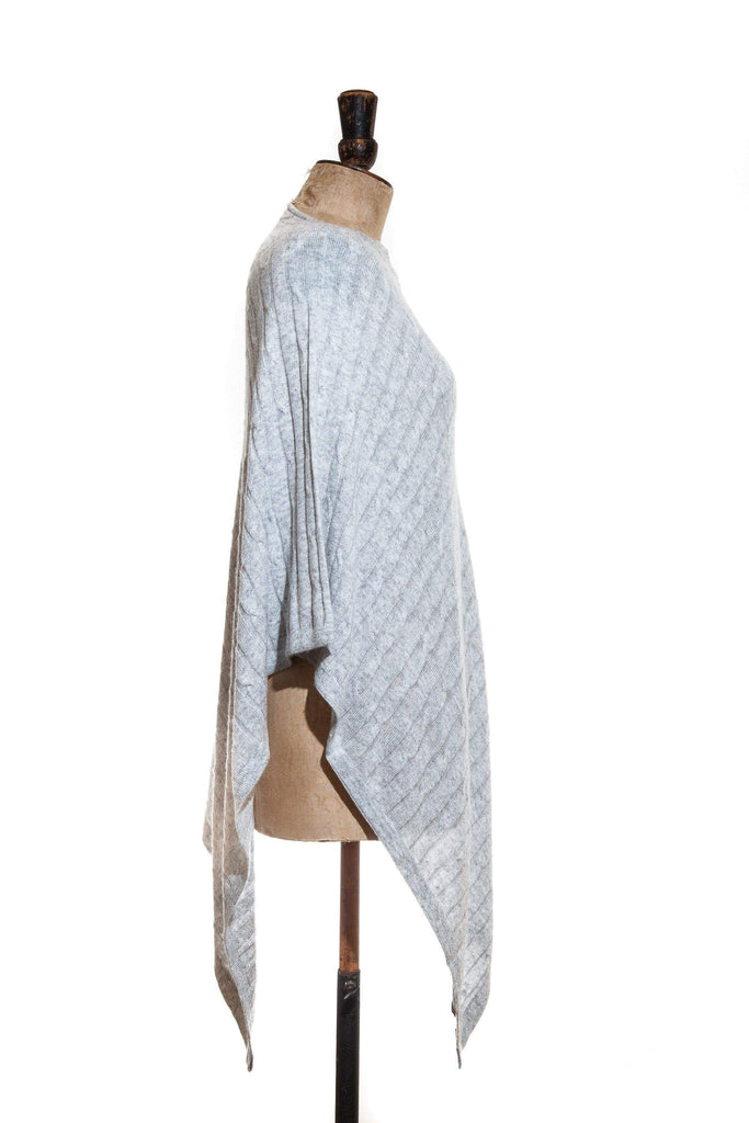 www.thecuriousyak.com Ponchos and Wraps Cable Knit Light Grey Poncho