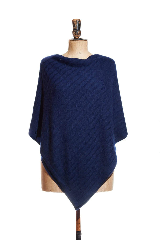 www.thecuriousyak.com Ponchos and Wraps Cable Knit Navy Blue Poncho
