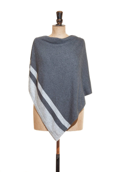www.thecuriousyak.com Ponchos and Wraps Dark Grey Poncho with Light Grey Edging