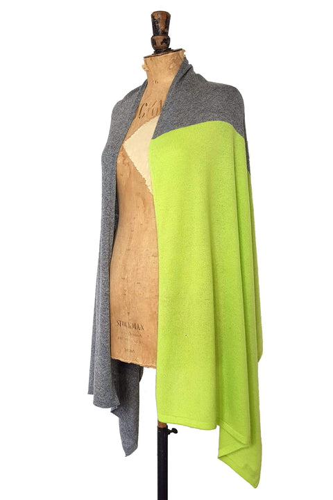 www.thecuriousyak.com Ponchos and Wraps Lime Green & Grey Two Tone Wrap